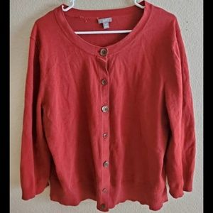 J Jill Red Button Down Cotton Cardigan Sweater